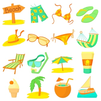 Sea rest icons set