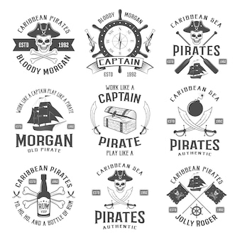 Sea robbers monochrome emblems with piratic symbol compass weapons sailboat rum bottle chest ribbon isolated vector illustration