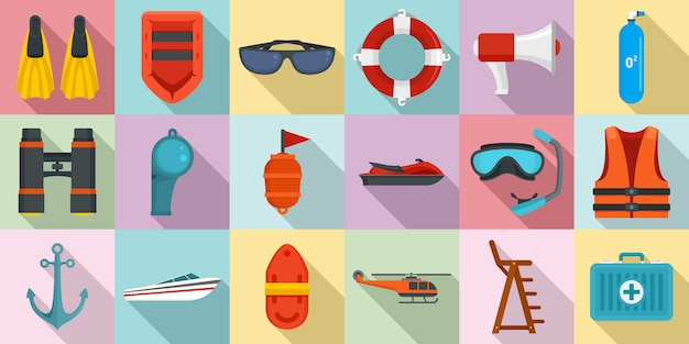 Sea safety icons set
