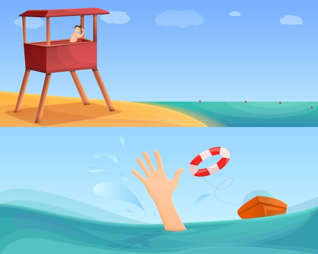 Sea safety illustration set on cartoon style