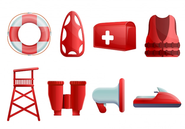 Sea safety set, cartoon style