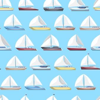 Sea sail yachts seamless pattern