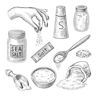 바다 소금 새겨진 일러스트 세트