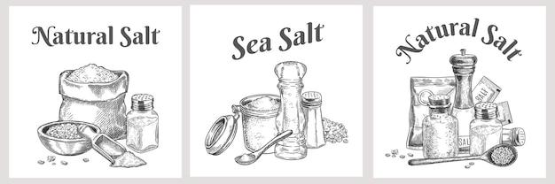 바다 소금 레이블입니다. 목욕용 천연 및 유기 염석 결정. 조미료와 요리 포스터입니다. 빈티지 향신료 또는 소금 포장 벡터 디자인. 천연 소금, 염장 배너를 요리하는 그림