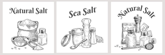 Sea salt labels. natural and organic salting crystals for bath. cooking poster with seasoning. vintage spice or salt packaging vector design. illustration cooking natural salt, salting banner