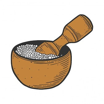 Sea salt in wooden bowl.
