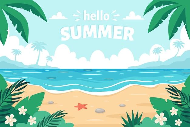 Sea sand beach hello summer seashore with palms and tropical plants
