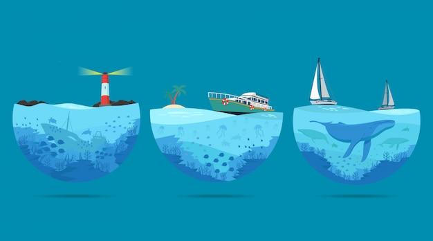 海の風景イラスト