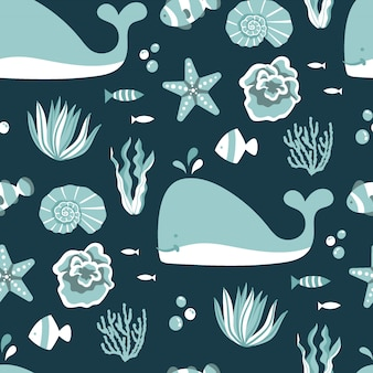 Under the sea seamless pattern with dark background