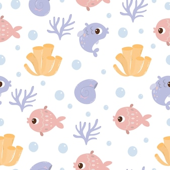 Sea seamless pattern with fish