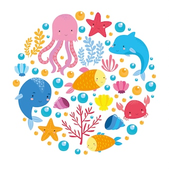 Sea set with cute animals