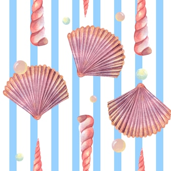 Sea shell marine life pattern seamless, travel vacation summertime on the beach