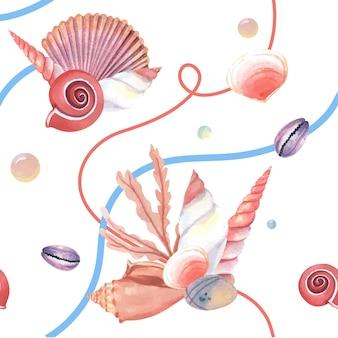 Морская ракушка морской жизни шаблон бесшовные, путешествия отпуск летом на пляже