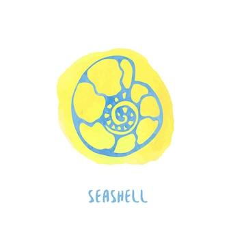 水彩スプラッシュの背景に海のシェル。手描きのベクトル図。夏のアイコン