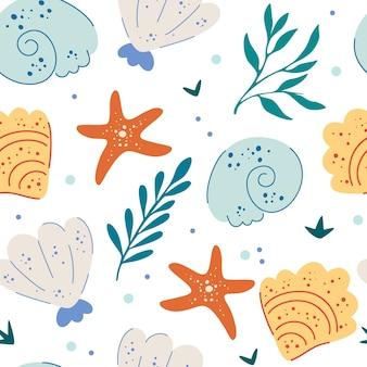 바다 조개와 불가사리 원활한 패턴 귀여운 바다 배경 재미 수중 배경