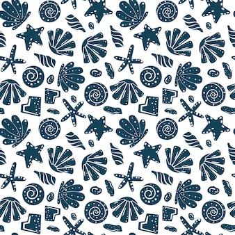 파란색에서 바다 포탄 바위 모래 해안 원활한 패턴