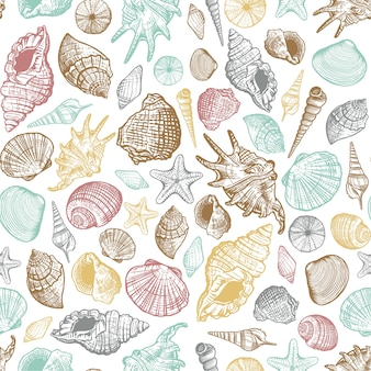 Sea shells trendy color seamless pattern. realistic hand drawn marine background with nature ocean aquatic mollusk shell