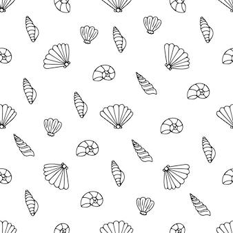 바다 조개 벡터 흑백 원활한 패턴 질감 배경.