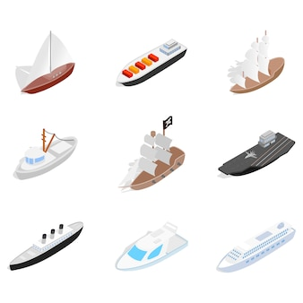 Sea ship icon set on white background