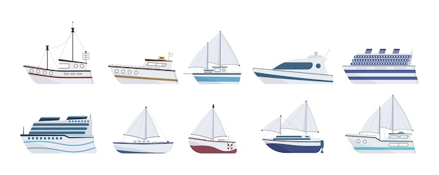 Sea ship. set of flat yacht, boat, steamboat, ferry, fishing vessel, tugboat, pleasure boat, cruise ship. sailboat isolated on white background. ocean transport concept.