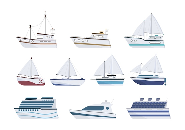 Морской корабль. набор из плоской яхты, катера, парохода, парома, рыболовного судна, буксира, прогулочного катера, круизного лайнера. парусник, изолированные на белом фоне. концепция морского транспорта.