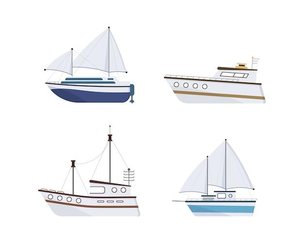 海の船。ヨット、ボート、蒸気船、フェリー、漁船、タグボート、プレジャーボート、クルーズ船のセット。