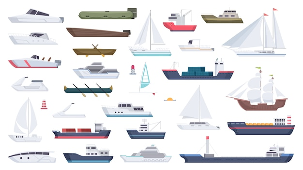 Sea ship. travel boat boating illustrations motorboat ocean big vessel cartoon