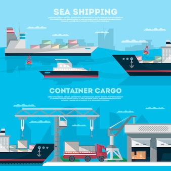 Sea shipping banner set with cargo seaport