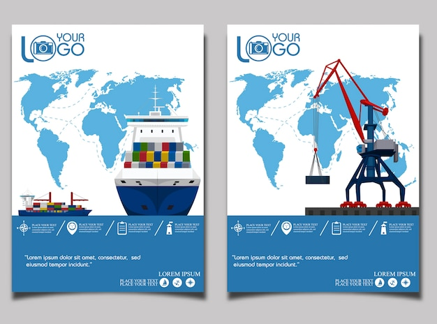 Sea shipping banner with port crane.