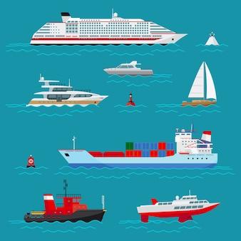 Набор морских кораблей. морской транспорт, морские перевозки, доставка и отгрузка, буй и лодка, круизный лайнер и буксир