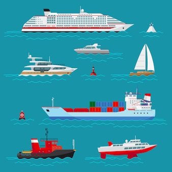 Sea ships set. sea transport, ocean transportation, delivery and shipping, buoy and boat, cruise liner and tow