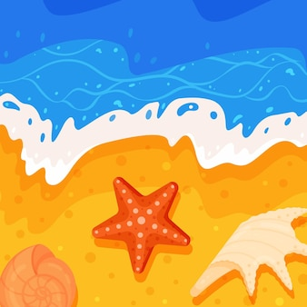 다채로운 조개와 바다 해안 그림