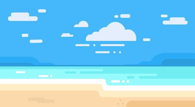シーショアサンドビーチサマーバケーションブルースカイ