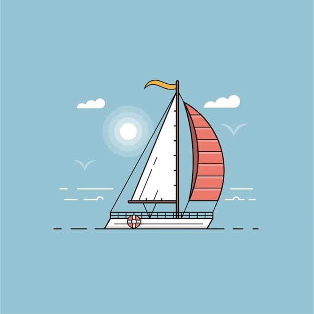 Морской пейзаж с белой лодкой. корабль морского транспорта в голубой иллюстрации океана. морской парус на приморском фоне в набросках дизайна.