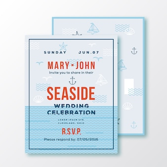 Sea side wedding invitation card or ticket template.