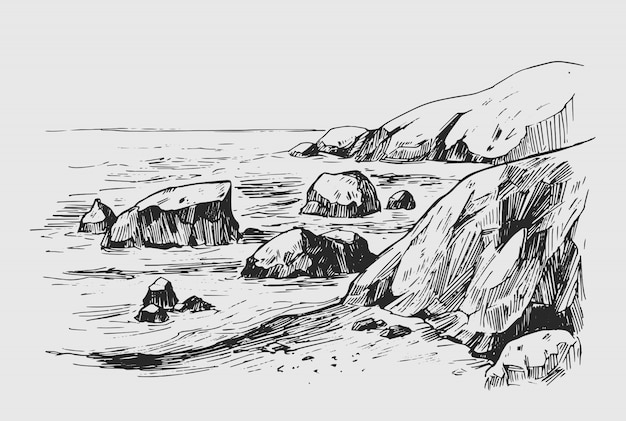 Sea sketch with rocks and mountains. hand drawn illustration