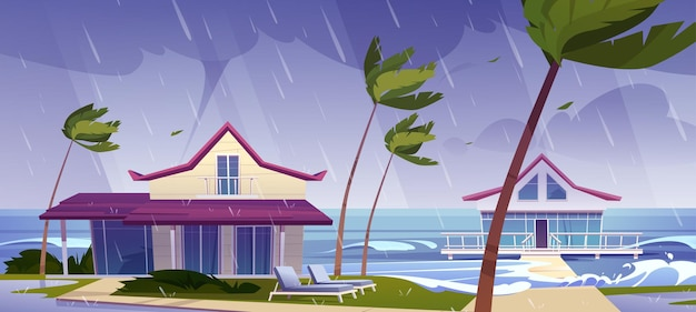 Sea storm with rain and tornado on tropical beach with bungalows and palm trees
