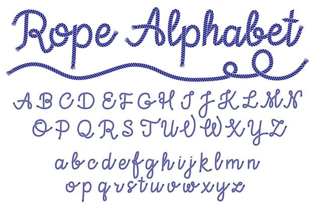 Шрифт символов веревки морского стиля, морские буквы, декоративный алфавит. векторная иллюстрация eps 10.