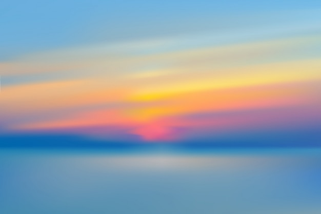 Sea sunset blurred sky realistic vector illustration.