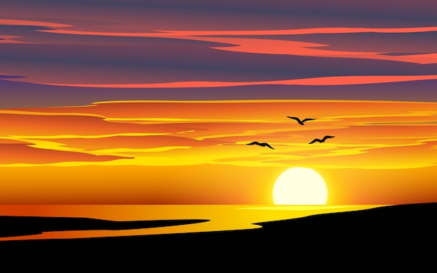 Sea sunset landscape with birds