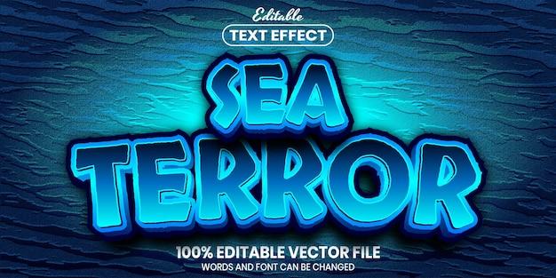 Sea terror text, font style editable text effect