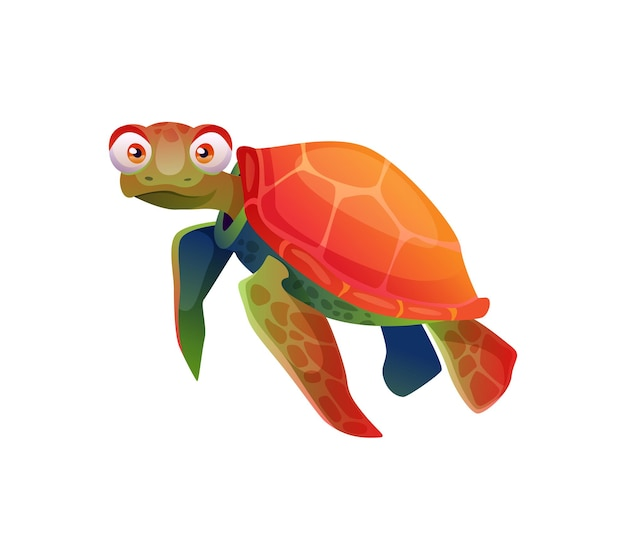 Sea tortoise turtle cartoon character isolated