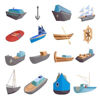 海上輸送のアイコンを設定します。 webの16の海上輸送アイコンの漫画イラスト