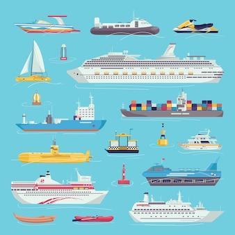 Морской транспорт набор иллюстраций морских перевозок вагонов. корабли, яхты, катера и грузовые суда, суда на воздушной подушке. морской транспортный перевозчик, фрахт.