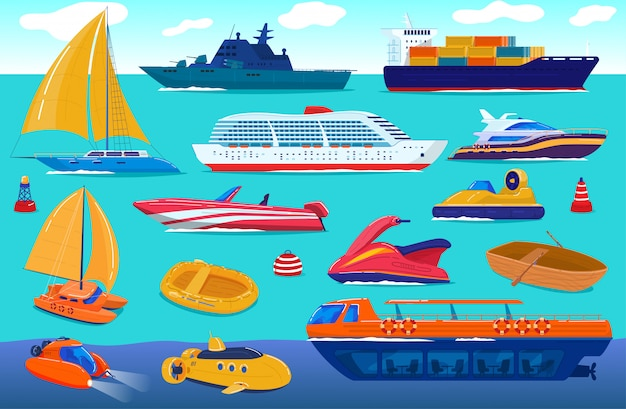 Sea transport, travel ship, water vessels, cruise yacht transportation set of cartoon  illustration.