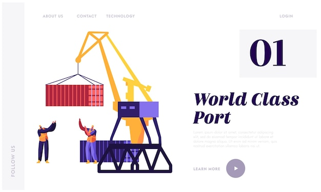 Sea transportation and logistic landing page template