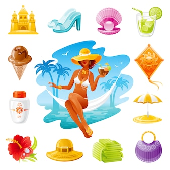 Sea travel cartoon icons. summer holidays set with beautiful girl, sun cream, bag, juice, straw hat, beach umbrella.