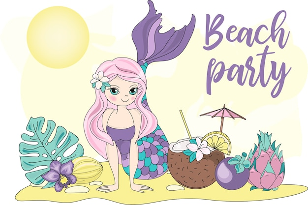 Sea travel clipart color vector illustration set beach party