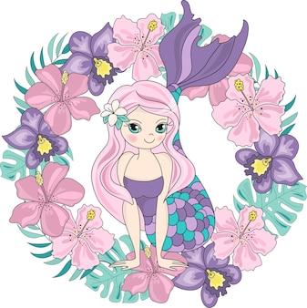 Sea travel clipart color vector illustration set mermaid flower