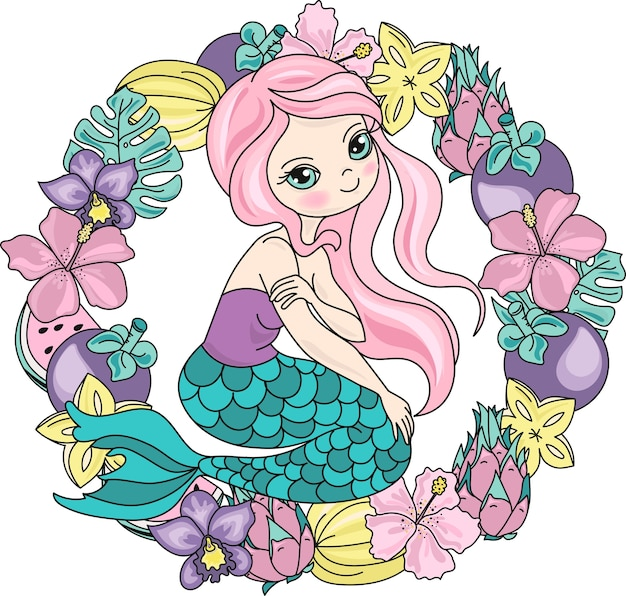 Sea travel clipart color vector illustration set mermaid fruits